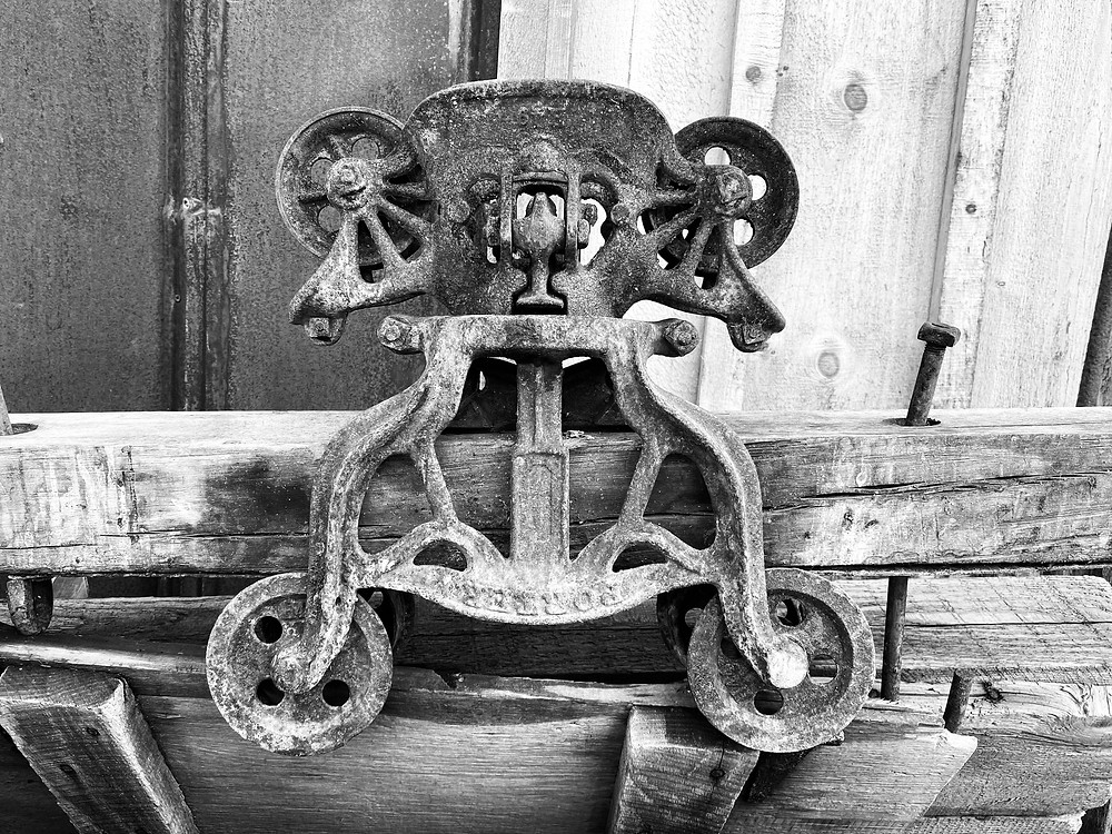 This is a hay trolley and track from a barn in Pennsylvania. Credit Antique Building Solutions