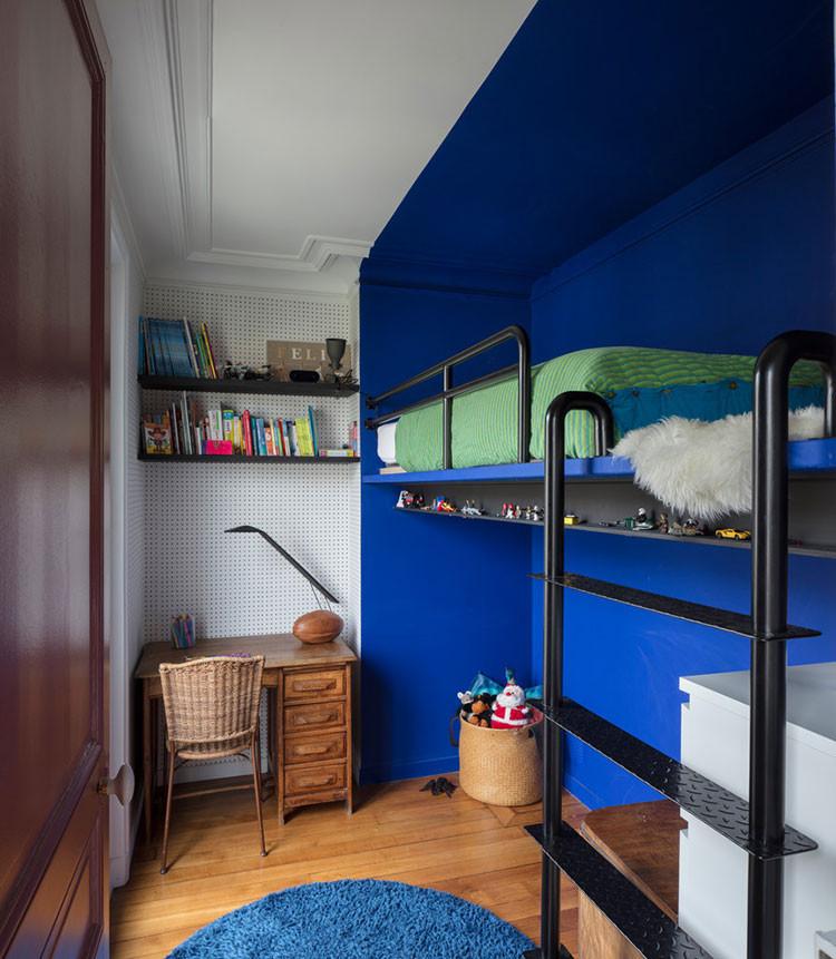 синий стена потолок детская
