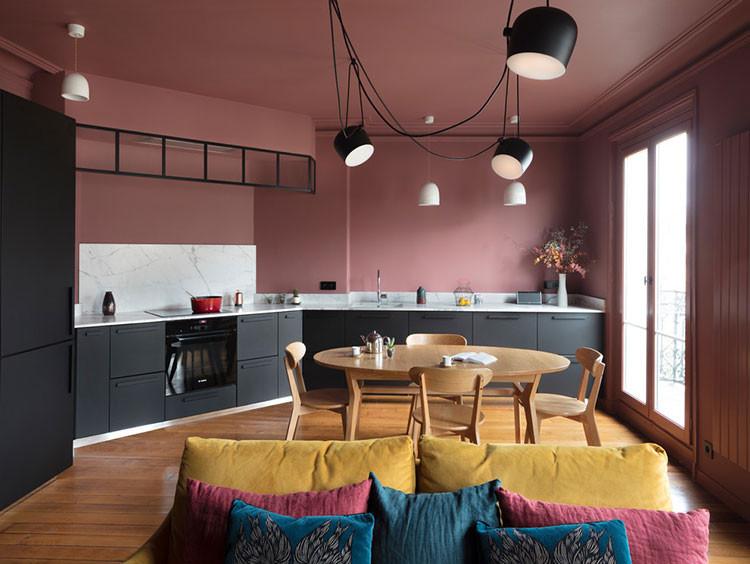 дизайн розовый окрашенные стены потолок