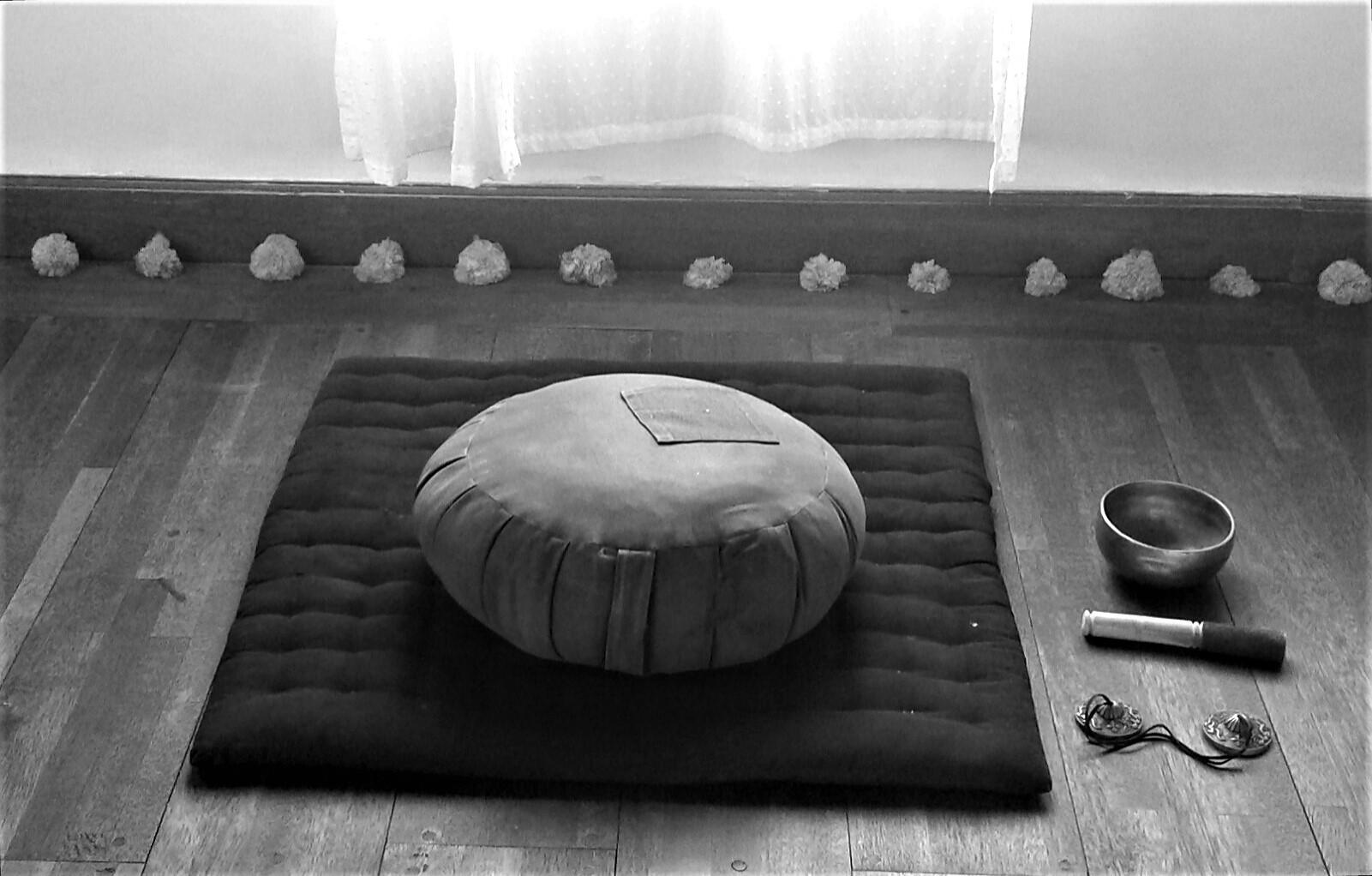 zafu and meditation bell