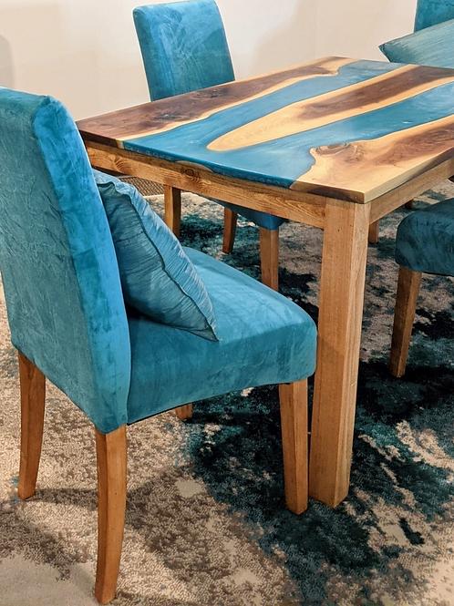 Bora Bora Blue Walnut Live Edge Epoxy Table