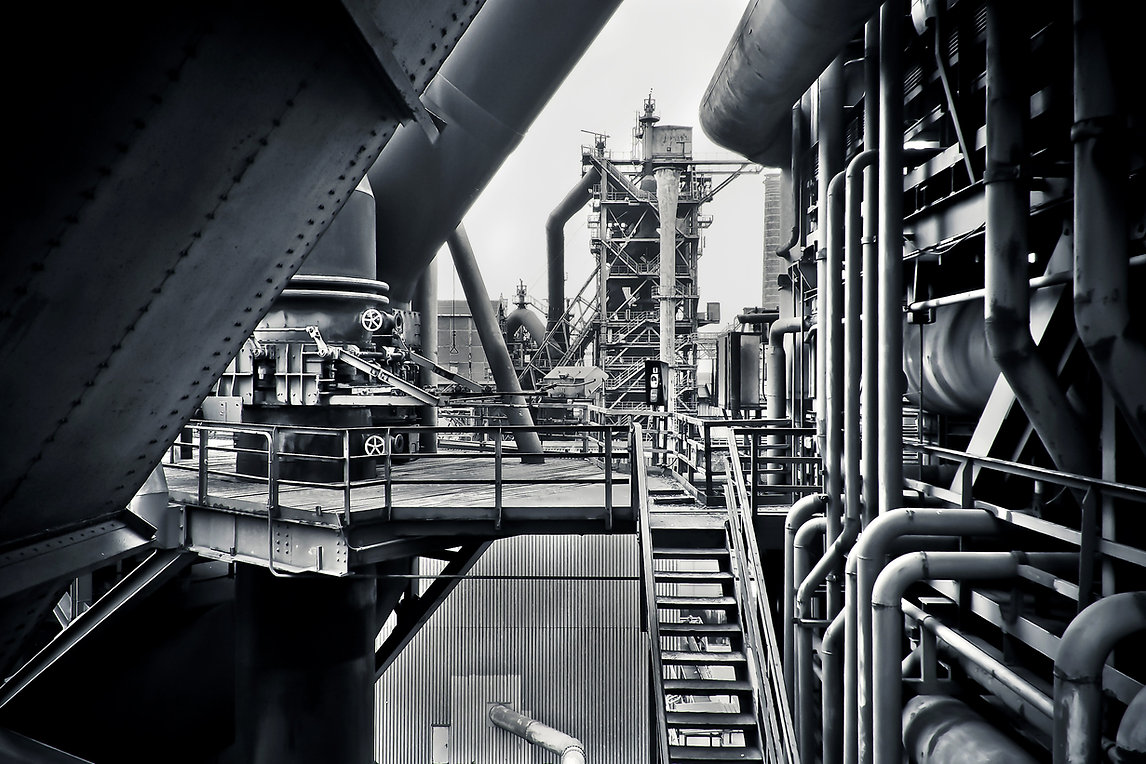 black-and-white-factory-industrial-plant