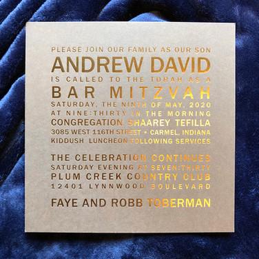 custom bar mitzvah invitation.