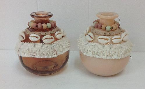 Aztec Design Glass Bottle Round