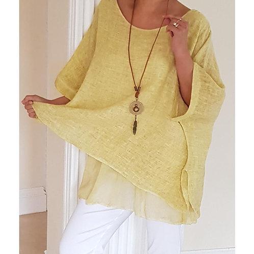 Linen Top with Silky Underlay