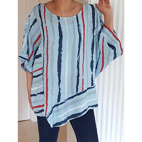 Panelled Linen Abstract Top