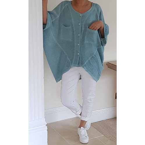 Linen Mix Up/Down Style Top