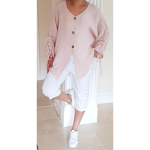 Linen Jacket with Ruched Sleeves