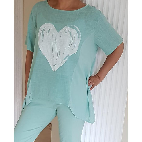 Cotton Top with Painted Heart