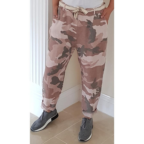 Linen Trousers -Camouflage