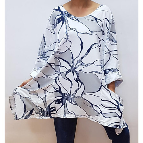 Stretchy Floral Abstract Top