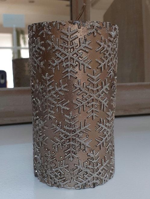 Pillar Candle Bronze Snowflake