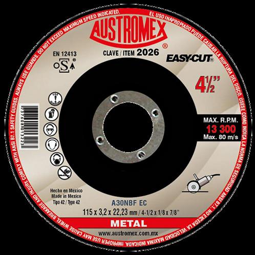 Disco de 4 1/2 con centro deprimido para corte de metal austromex