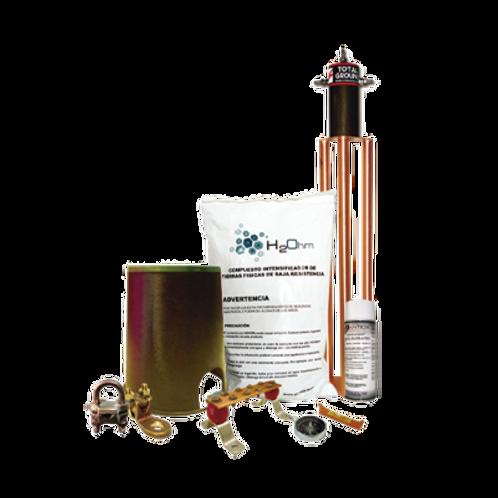 Kit de Tierra Física con Electrodo TG100AB y accesorios de instalación. TOTAL GR