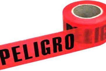 cinta delimitadora  roja con leyenda peligro