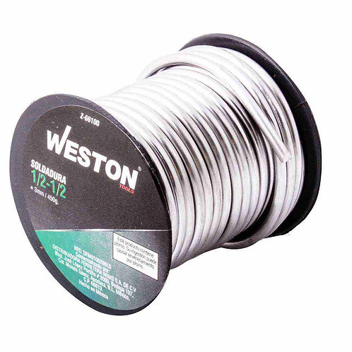 Rollo de Soldadura de  Estaño Plomo 1/2-1/2 weston 3mm