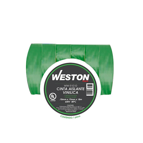 CINTA AISLANTE VINILICA WESTON VERDE WW-91010