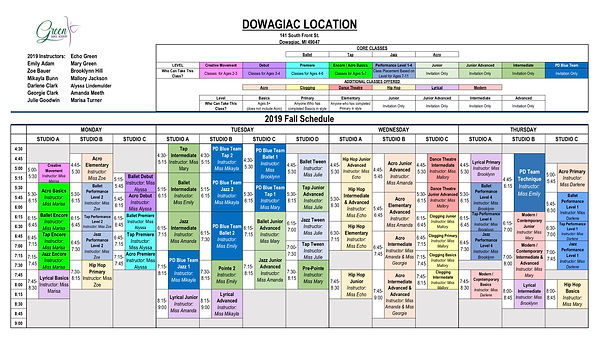 2019 DOWAGIAC FALL SCHEDULE - Green Danc