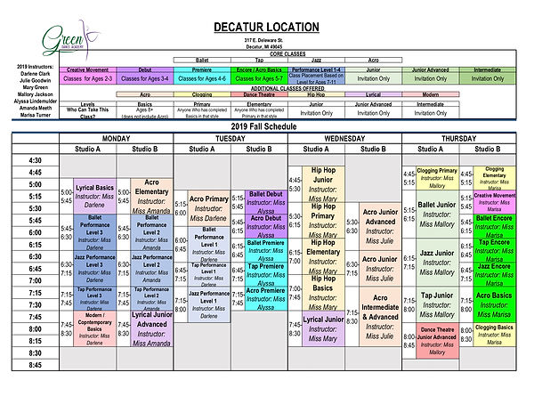 2019 DECATUR FALL SCHEDULE - Green Dance