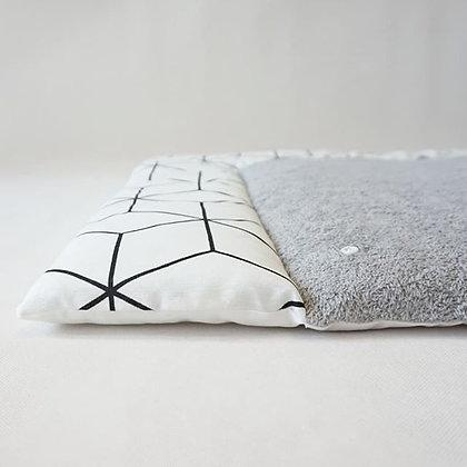 Wickelauflage geo weiß / Frottee grau