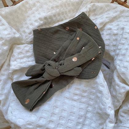*Set Haarband und Halstuch khaki mit Punkten