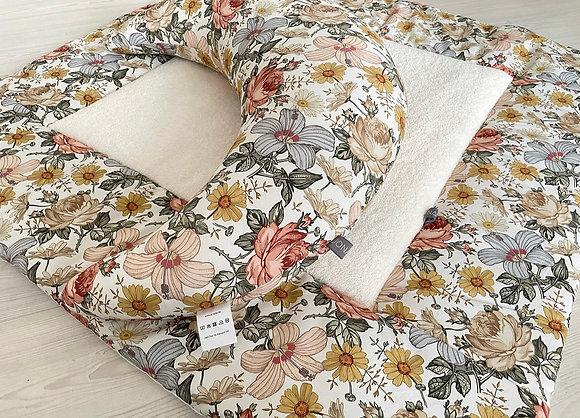 Krabbeldecke Vintage Blumen / Frottee Viereck
