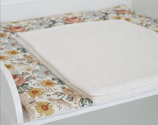 Wickelauflage Vintage Blumen / Frottee creme