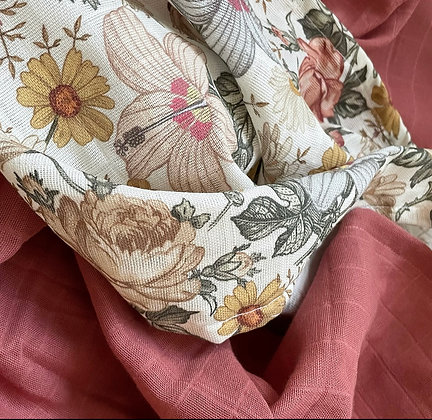 *2er-Set Musselintücher  Vintage Blumen / rot