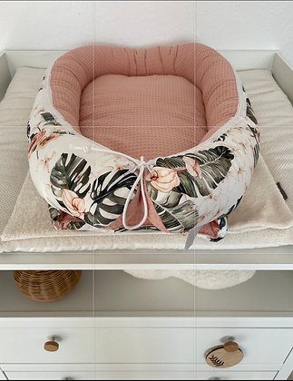 *Babynest Tropical Flower / Frottee lachs