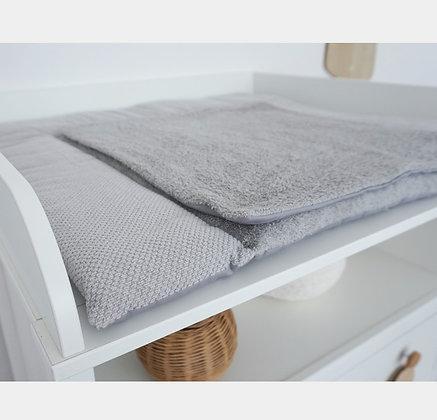 *Wickelauflage Strick grau Frottee grau 78x78 cm mit extra Frotteeauflage