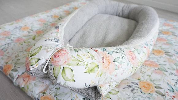 Babynest Blumenmeer / Frottee grau