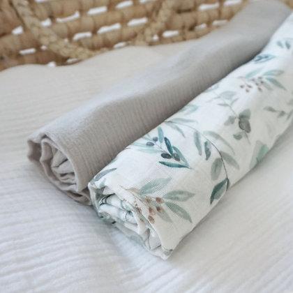 2er-Set Musselintücher Eukalyptus / beige