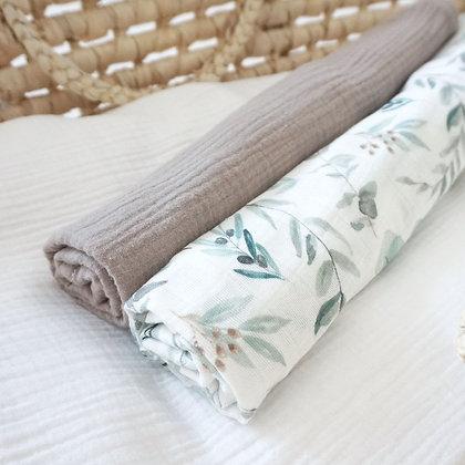 2er-Set Musselintücher Eukalyptus / braun