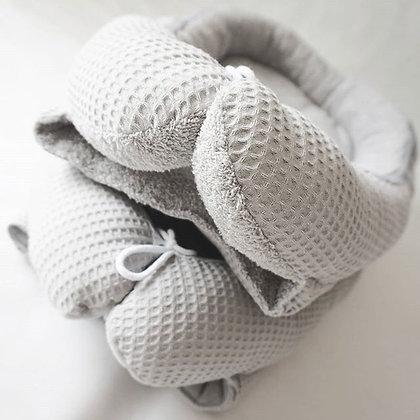 Babynest Waffelpique grau / Frottee grau