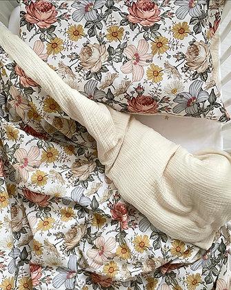 Bettwäsche Vintage Blumen / Musselin natur
