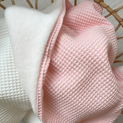 *Kuscheldecke Waffel rosa / Fleece creme