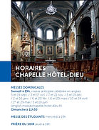 Chapelle Hôtel Dieu Horaires mess English Mass