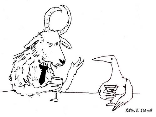 Yak and Bird Postcard