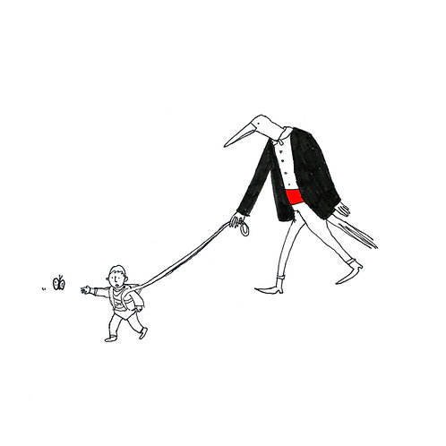 Bird Man & Pet Child Print