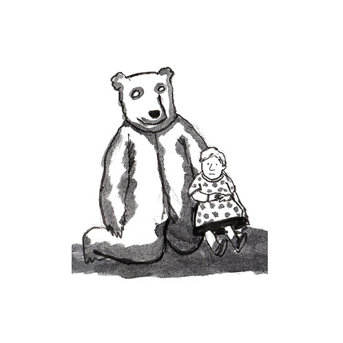 Seated Bear Suit Print