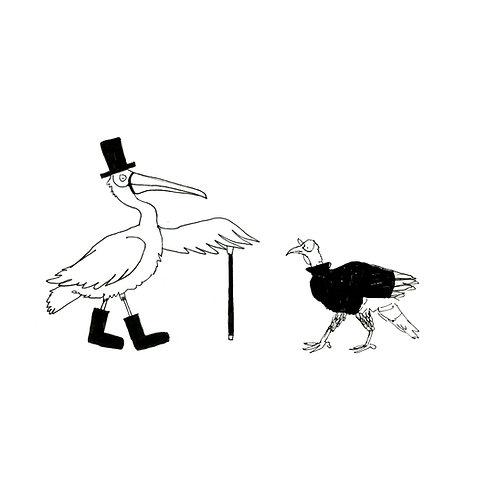 Dapper Pelican & Turtleneck Turkey Print