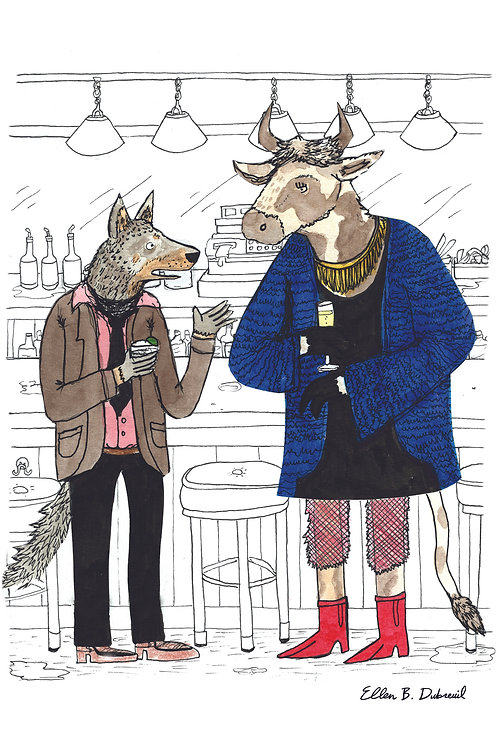 Lady Cow and Wolf Postcard