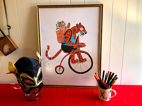 Tigercycle: Large (18 x 24) Framed Print