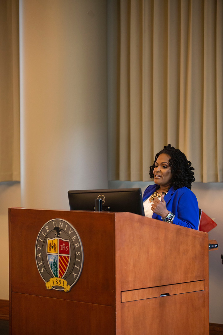 Kimberly Harden giving a keynote speech at Seattle University's Industry and Inclusion Takeover 2019
