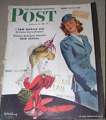 1942 Red Cross Nurse WWll - Saturday Evening Post Cover by Artist Gilbert Bundy