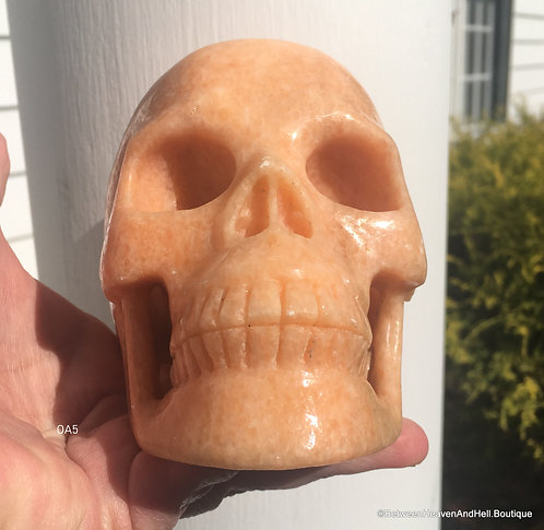 Large Activated Orange Aventurine Crystal Skull Positive Energy transmitter