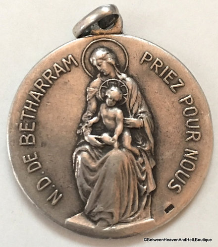 Antique France 800 Sterling Silver Holy Medal Our Lady Betharram