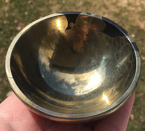 "3"" Pyrite Gemstone Bowl Altar Offering Manifestation Magic Good Luck Power"