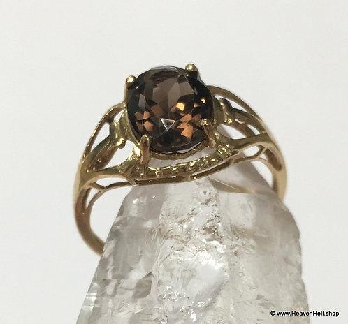10k Gold Ring Smoky Topaz Quartz Ring Gemstone Ring 10k Gold Jewelry Size 7
