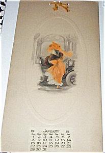 Vintage Embossed Art Calendar Gelatine Print Edwardian Lady